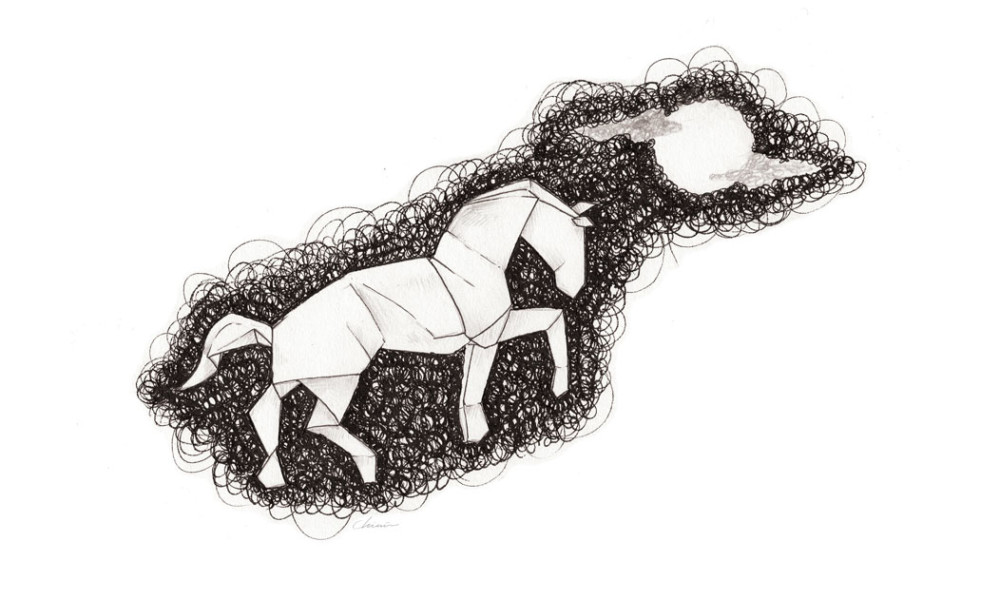 Scribbled-Origami-horse-unicorn
