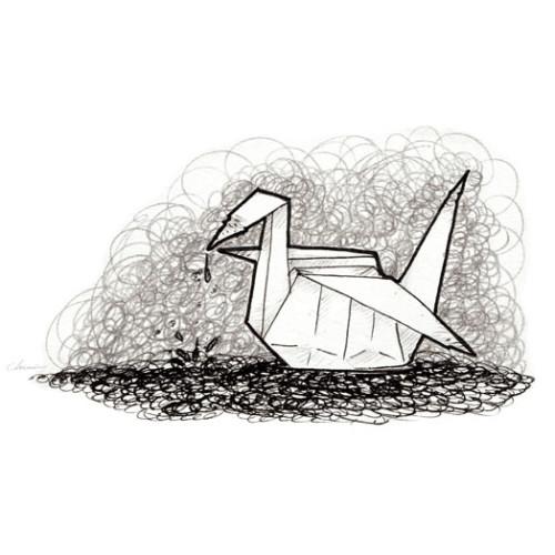 Scribbled-Origami-swan-gru-bird-classic